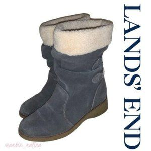 Lands End Grey Sherpa Lined Winter Boots